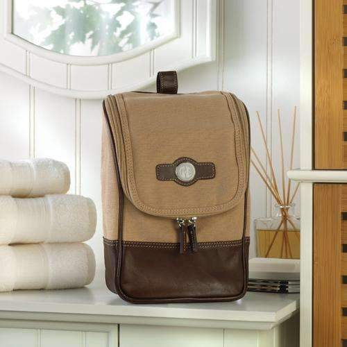 Personalized Men's Canvas & Leather Toiletry Bag