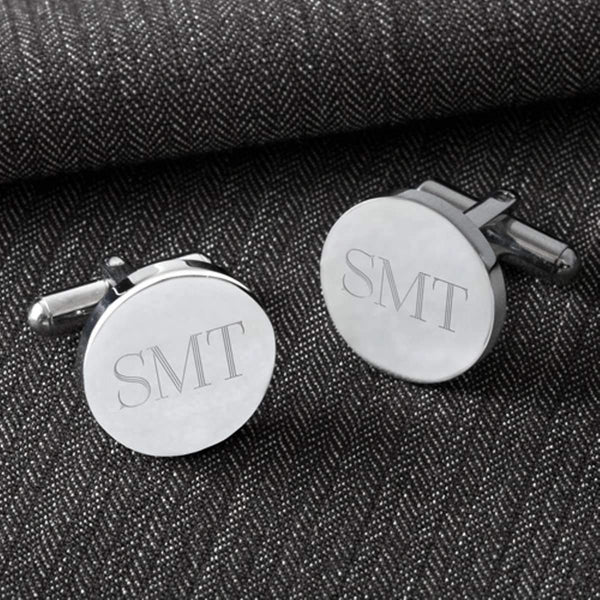 Engraved Polished Silver Men's Cufflinks - Way Up Gifts