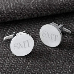 Engraved Polished Silver Men's Cufflinks