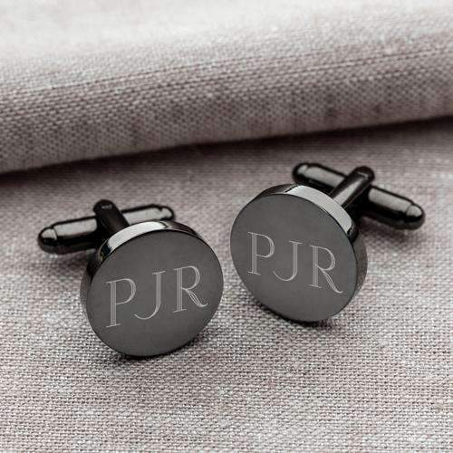 Engraved Men's Round Gunmetal Cufflinks - Way Up Gifts
