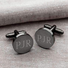 Engraved Men's Round Gunmetal Cufflinks