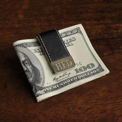 Engraved Stitched Leather Money Clip Black Leather Personalized Gifts - Way Up Gifts