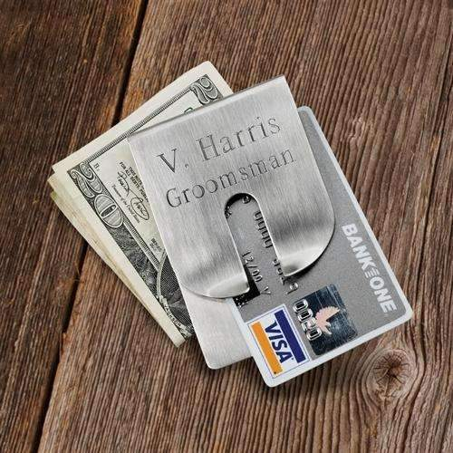 Engraved Brushed Silver Money Clip/Wallet - Way Up Gifts
