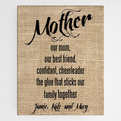 Personalized Mother Canvas Sign