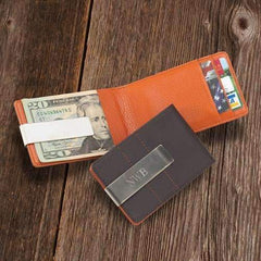 Engraved Orange Leather Wallet | Money Clip