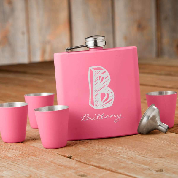 Personalized Matte Pink Hip Flask Gift Box Kate Monogram (15 ch) Personalized Gifts - Way Up Gifts