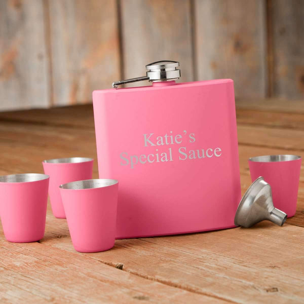Personalized Matte Pink Hip Flask Gift Box 2 Lines/15 ch Personalized Gifts - Way Up Gifts