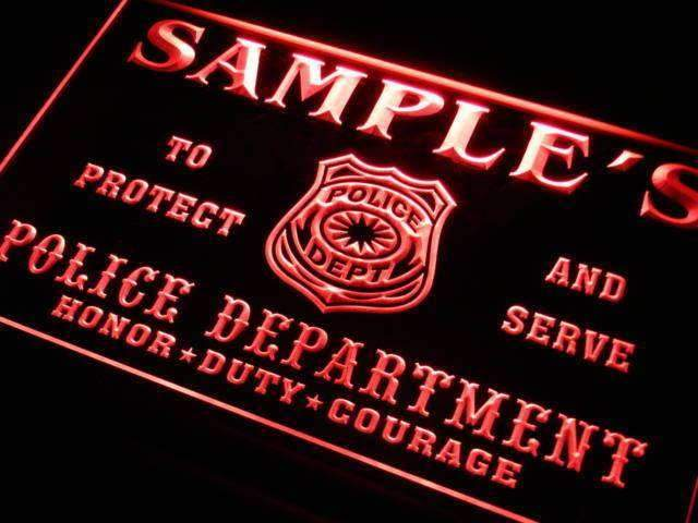 Personalized Police Department LED Neon Light Sign - Way Up Gifts