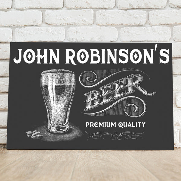 Personalized Premium Beer Canvas Sign - Way Up Gifts