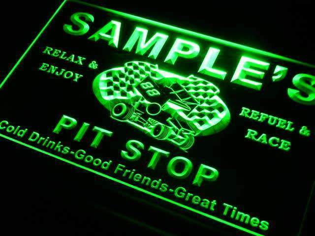 Personalized Racing Pit Stop LED Neon Light Sign - Way Up Gifts
