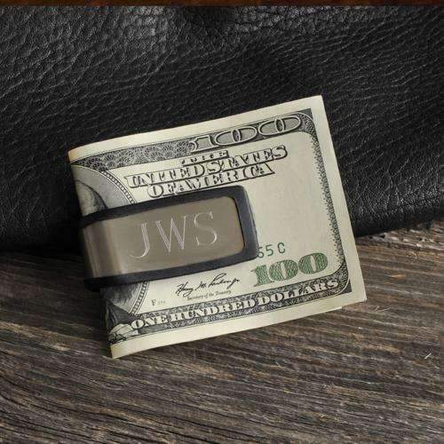 Engraved Stainless & Rubber Money Clip Silver/Black Personalized Gifts - Way Up Gifts