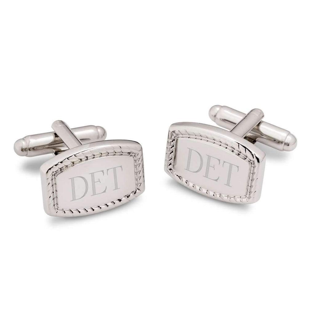 Engraved Bordered Rectangular Silver-Plated Cufflinks