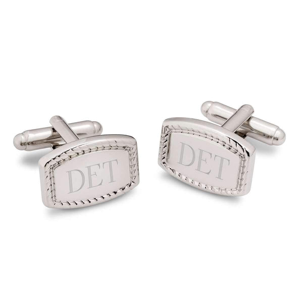 Engraved Bordered Rectangular Silver-Plated Cufflinks - Way Up Gifts