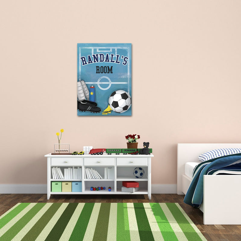 Personalized Kids Soccer Canvas Print Bedroom Sign - Way Up Gifts