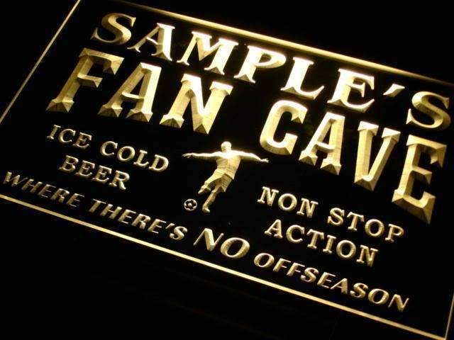 Personalized Soccer Fan Cave LED Neon Light Sign - Way Up Gifts