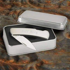 Engraved Stainless Steel Pocket Knife