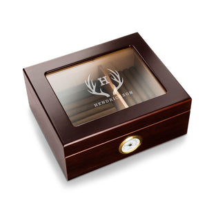 Personalized Top Mahogany Cigar Humidor