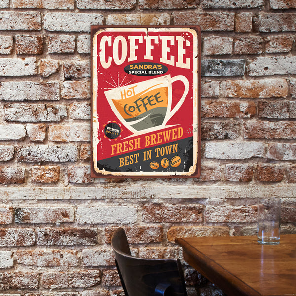 Personalized Vintage Coffee Sign Canvas - Way Up Gifts