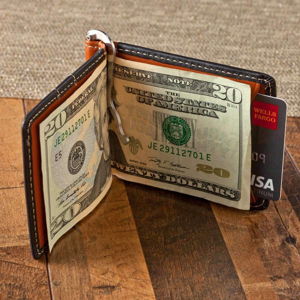 Personalized Dual Color Leather Card Holder & Money Clip Wallet  Personalized Gifts - Way Up Gifts
