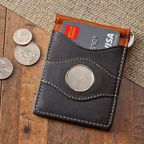 Personalized Dual Color Leather Card Holder & Money Clip Wallet Black/Brown Personalized Gifts - Way Up Gifts
