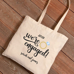 Personalized We're Engaged Canvas Tote Bag