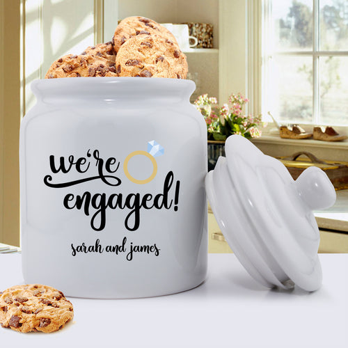 Personalized Couples Cookie Jar | We're Engaged