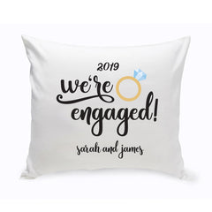 Personalized We're Engaged Throw Pillow