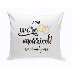 Personalized We're Married Throw Pillow