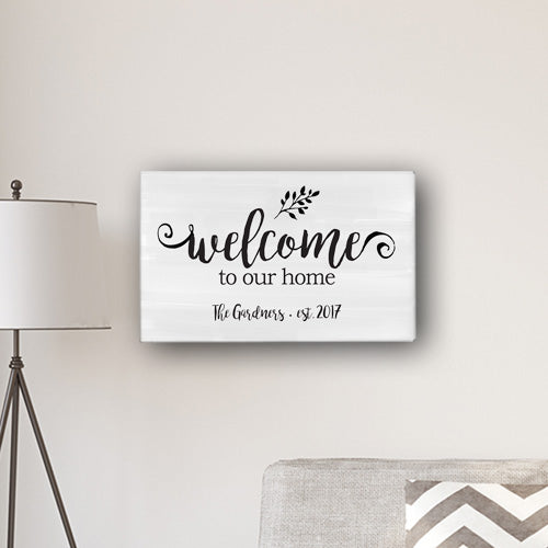 "Personalized Welcome To Our Home Modern Farmhouse 14"" x 24"" Canvas - Way Up Gifts"