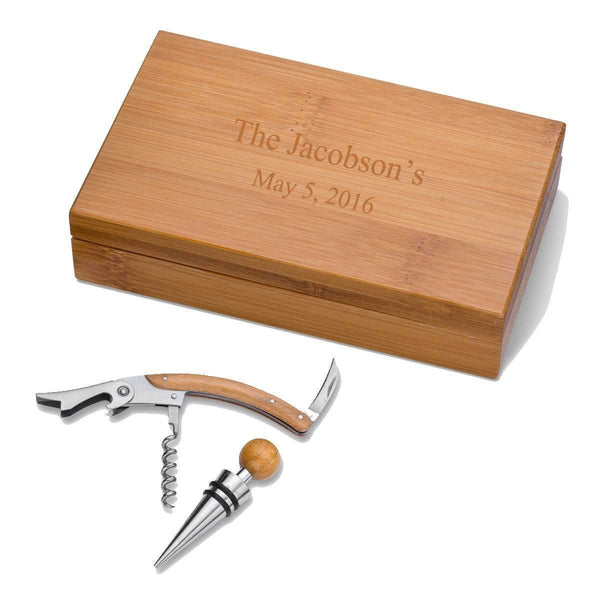 Personalized Bamboo Wine Tool Accessory Kit  Personalized Gifts - Way Up Gifts