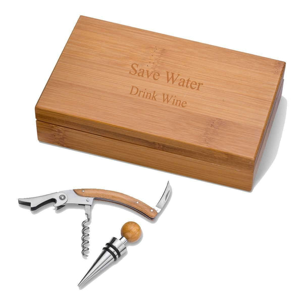 Personalized Bamboo Wine Tool Accessory Kit - Way Up Gifts