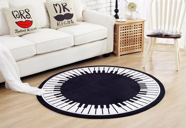 Piano Key Round Area Rug - Way Up Gifts