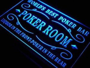 Poker Bar Best Poker Room Neon Sign (LED)-Way Up Gifts