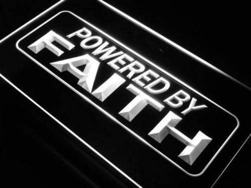 Powered by Faith LED Neon Light Sign - Way Up Gifts