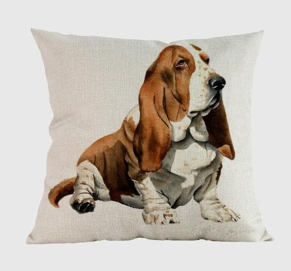Basset Hound Pillow Q / 14x14