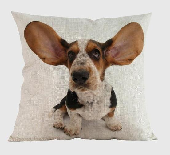 Basset Hound Pillow W / 14x14
