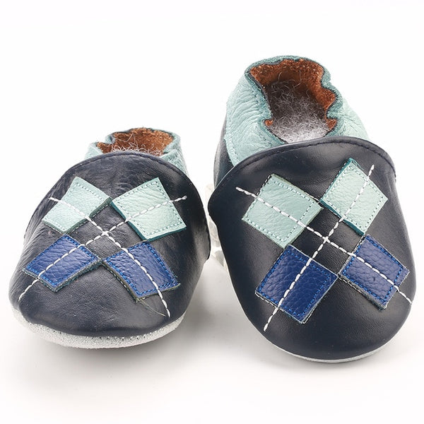Genuine Leather Skid-Proof Baby Infant Shoes Argyle / 3 Babies > Accessories > Shoes - Way Up Gifts