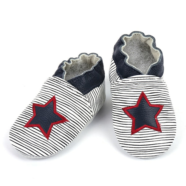 Genuine Leather Skid-Proof Baby Infant Shoes Boys Star / 6 Babies > Accessories > Shoes - Way Up Gifts