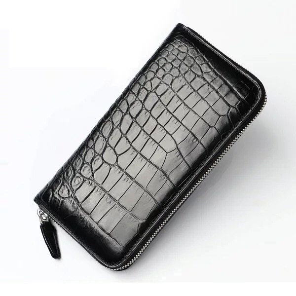 Handmade Premium Crocodile Belly Wallet | Large Card Holder Black Men > Accessories > Wallets > Crocodile Wallets - Way Up Gifts