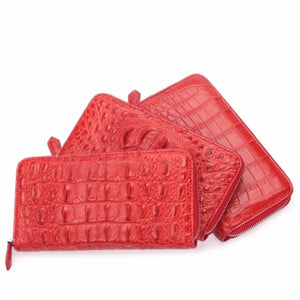 Women's Genuine Crocodile Skin Leather Red Clutch Purse Wallet