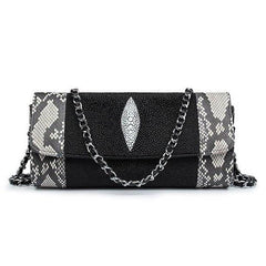Handmade Luxury Stingray & Python Evening Purse | Crossbody Bag