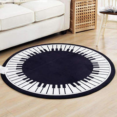 Piano Key Round Area Rug