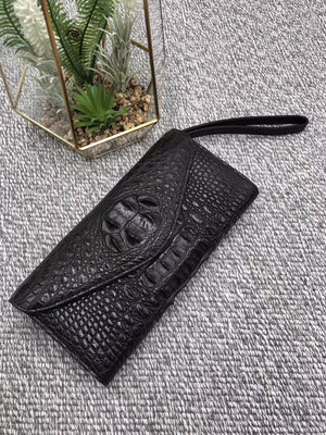 Handmade Genuine Crocodile Large Wrislet Clutch Purse