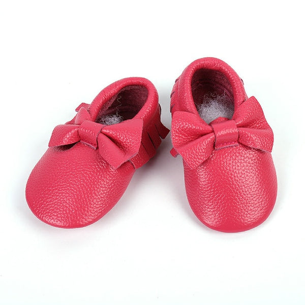 Genuine Leather Skid-Proof Baby Infant Shoes Pink Bow / 3 Babies > Accessories > Shoes - Way Up Gifts