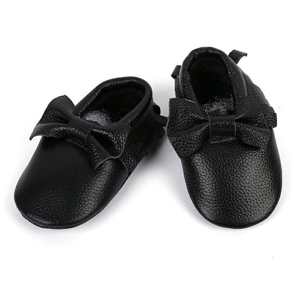 Genuine Leather Skid-Proof Baby Infant Shoes Black Bow / 3 Babies > Accessories > Shoes - Way Up Gifts