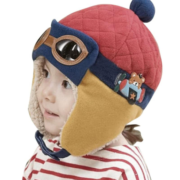 Baby Pilot Winter Hat with Ear Protection Red Babies > Accessories > Hats > Winter Hats - Way Up Gifts