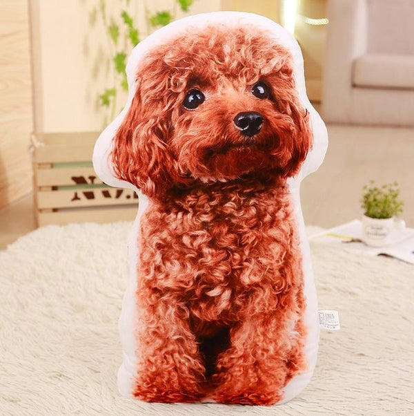 Realistic 3D Stuffed Dog Plush Pillow Cushion