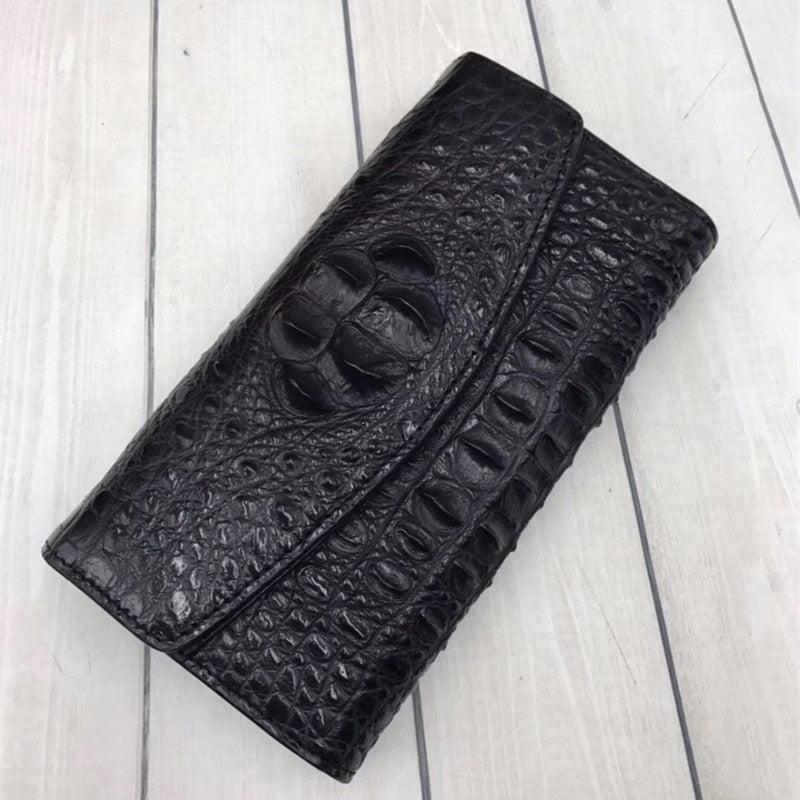 Handmade Genuine Crocodile Tri-Fold Clutch Purse