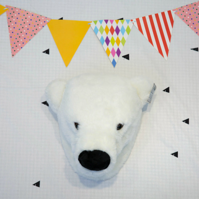 Wall Hanging Plush Polar Bear Head Stuffed Animal - Way Up Gifts