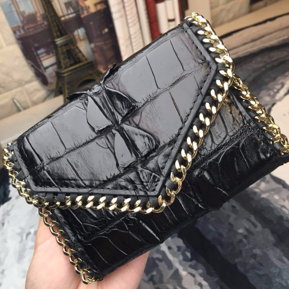 Handmade Genuine Crocodile Small Black Purse